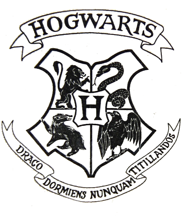 Download transparent file from. Hogwarts crest black and white png vector free library
