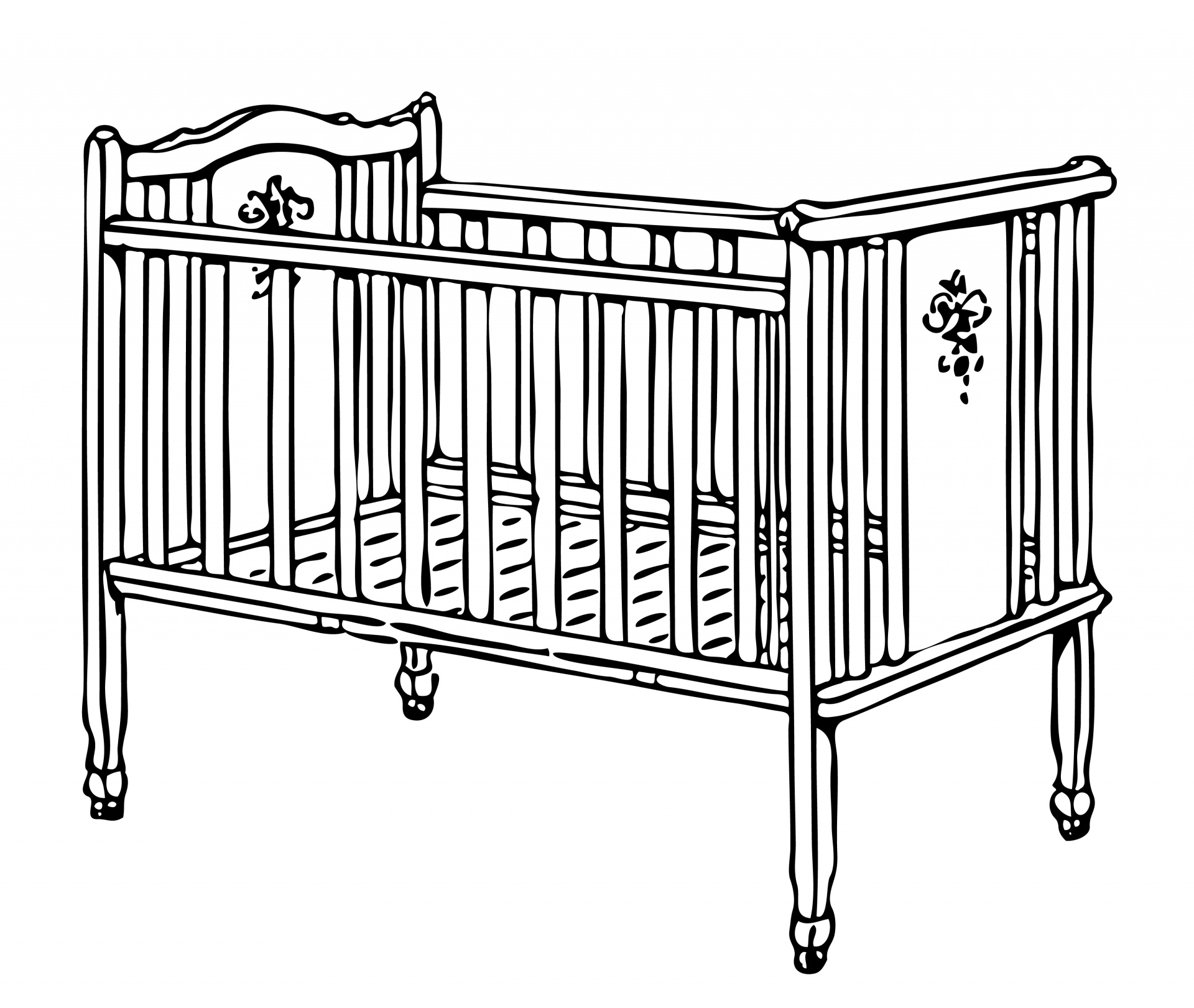 Cot illustration free stock. Crib clipart image stock