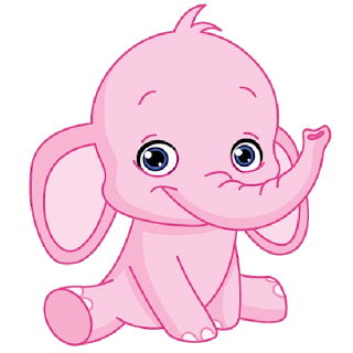 Pink elephant cute cartoon. Crib drawing animated png black and white stock