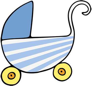 Crib drawing baby soother. Free clipart animations blue