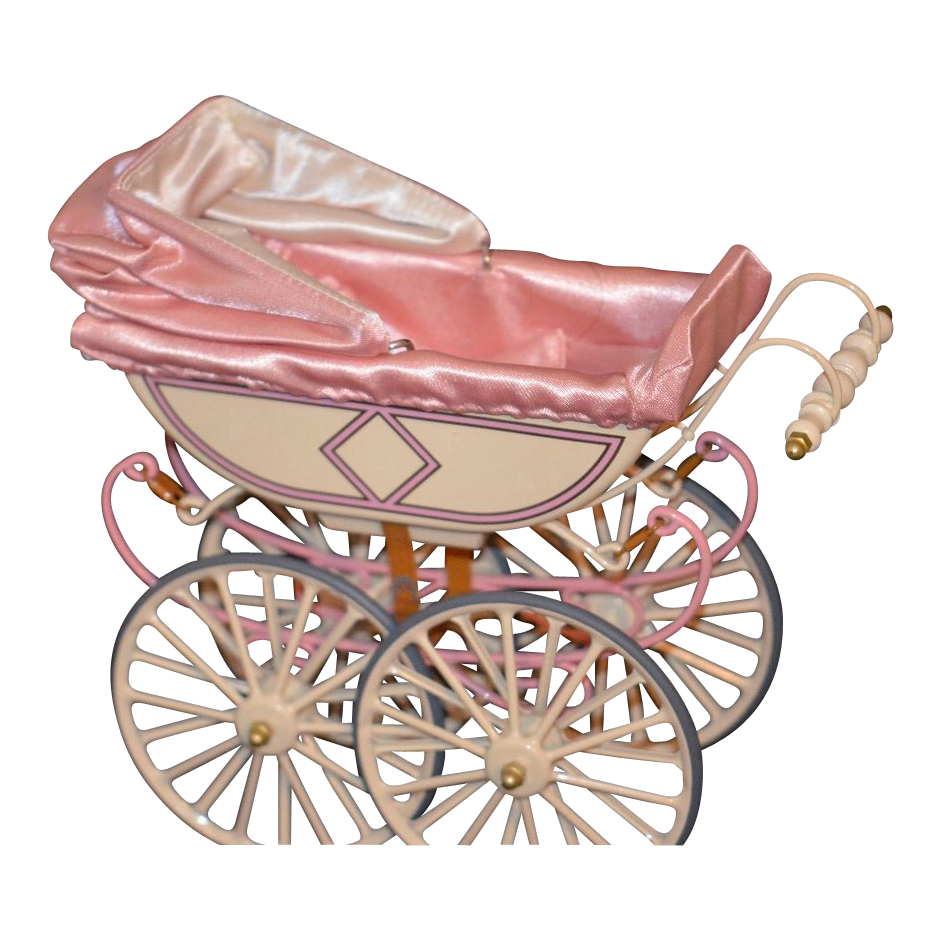 Crib drawing diy baby doll. Vintage pram carriage buggy