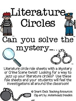 Crime clipart mystery genre. Literature circles packet can