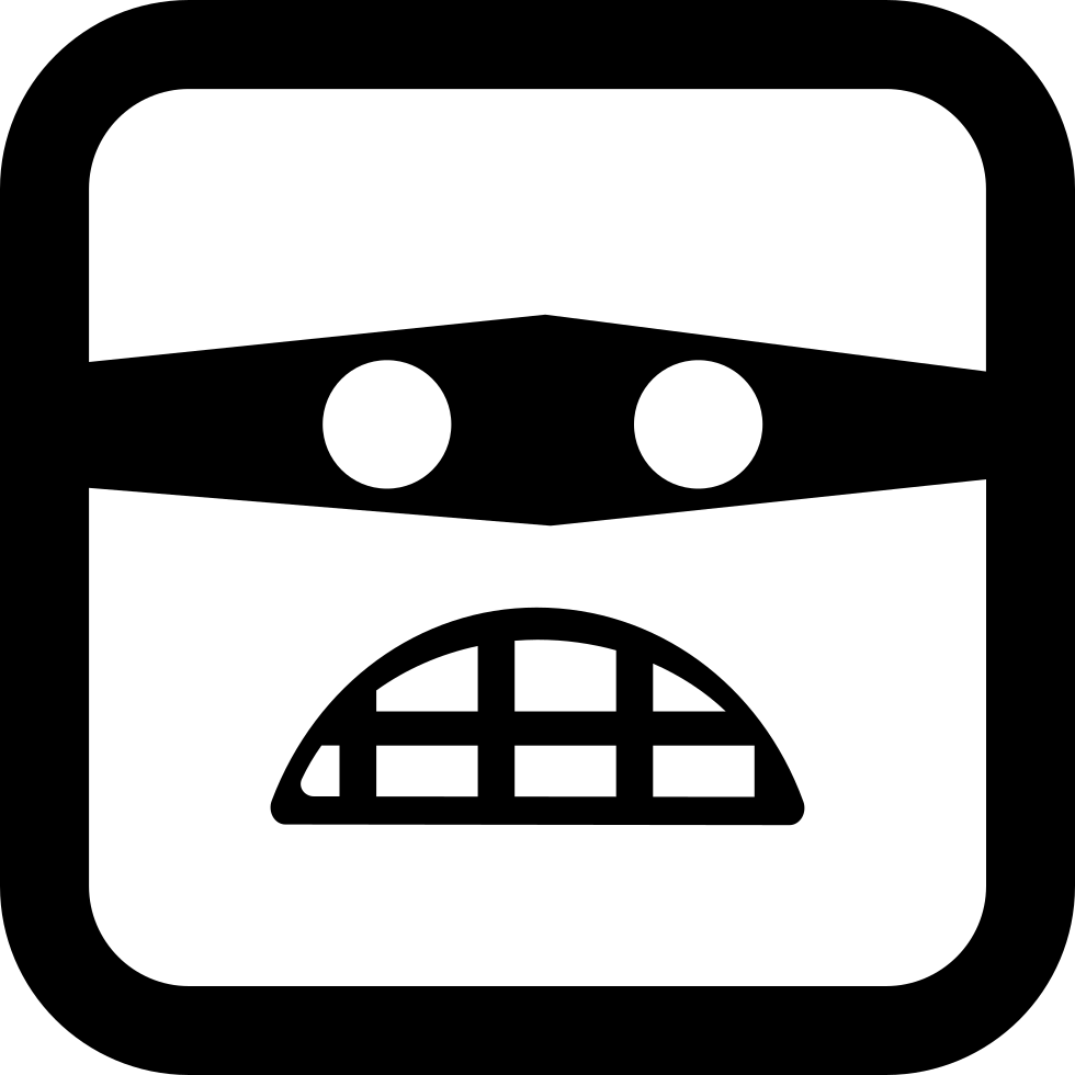 Criminal drawing mask. Emoticon rounded square face