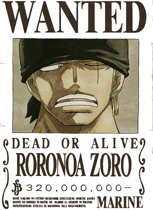 Criminal drawing wanted poster. Zoro pictures and cliparts
