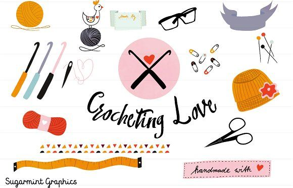 Crochet clipart handmade. Commercial and graphics illustrations