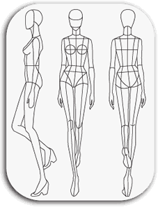 Drawing illustration body. Catwalk fashion template art