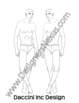 Croque drawing figure. Male fashion croqui template