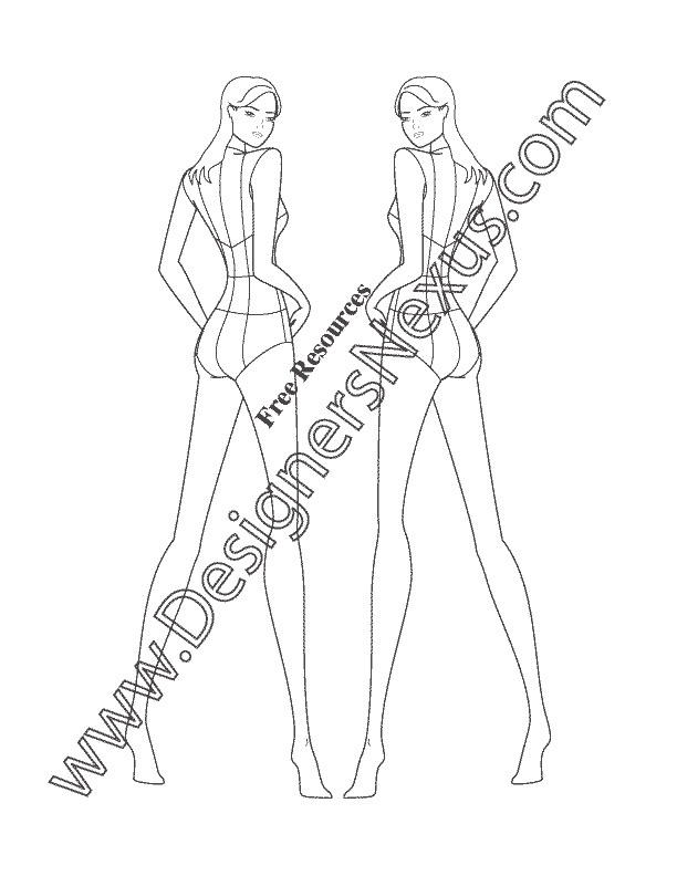 Croque drawing templates. Female fashion figure back