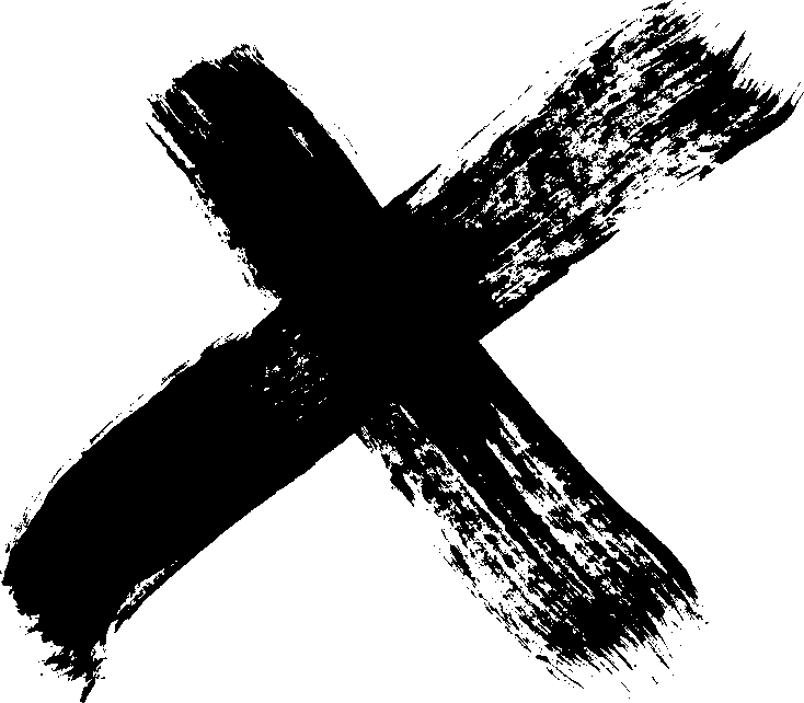 Cross brush png. Grunge x stroke