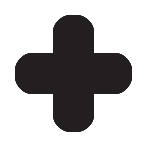 Cross clip rounded. Plus icon
