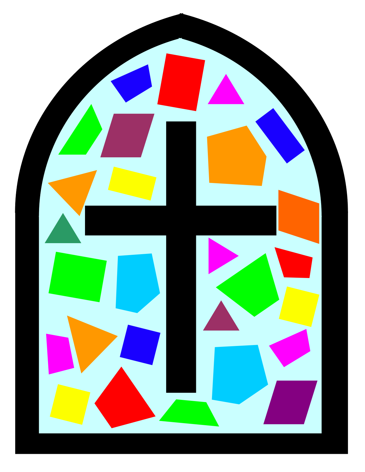 Church window png vector. Arched stained glass clipart