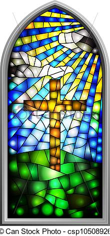 Cross clipart stained glass. Window vector illustration of clip free library