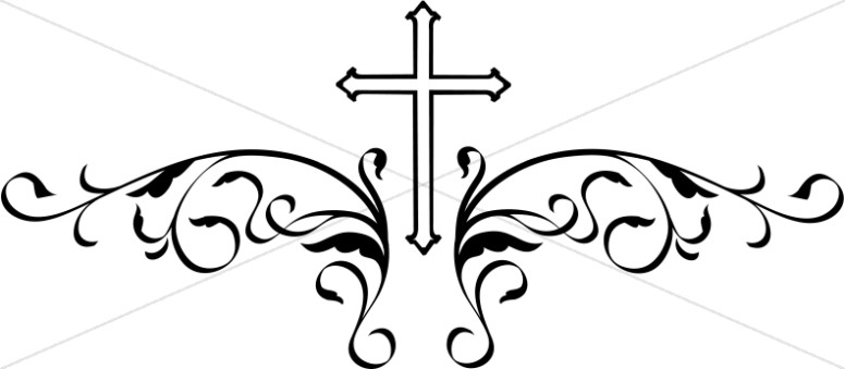 Cross clipart. Decorative black