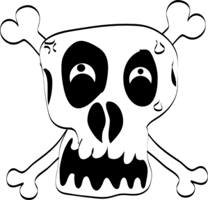 Crossbones clipart svg. Freehand drawing of skull