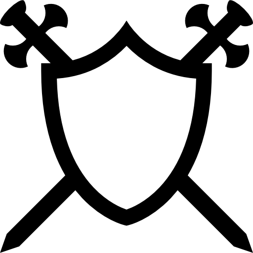Royal vector shield. With two swords in
