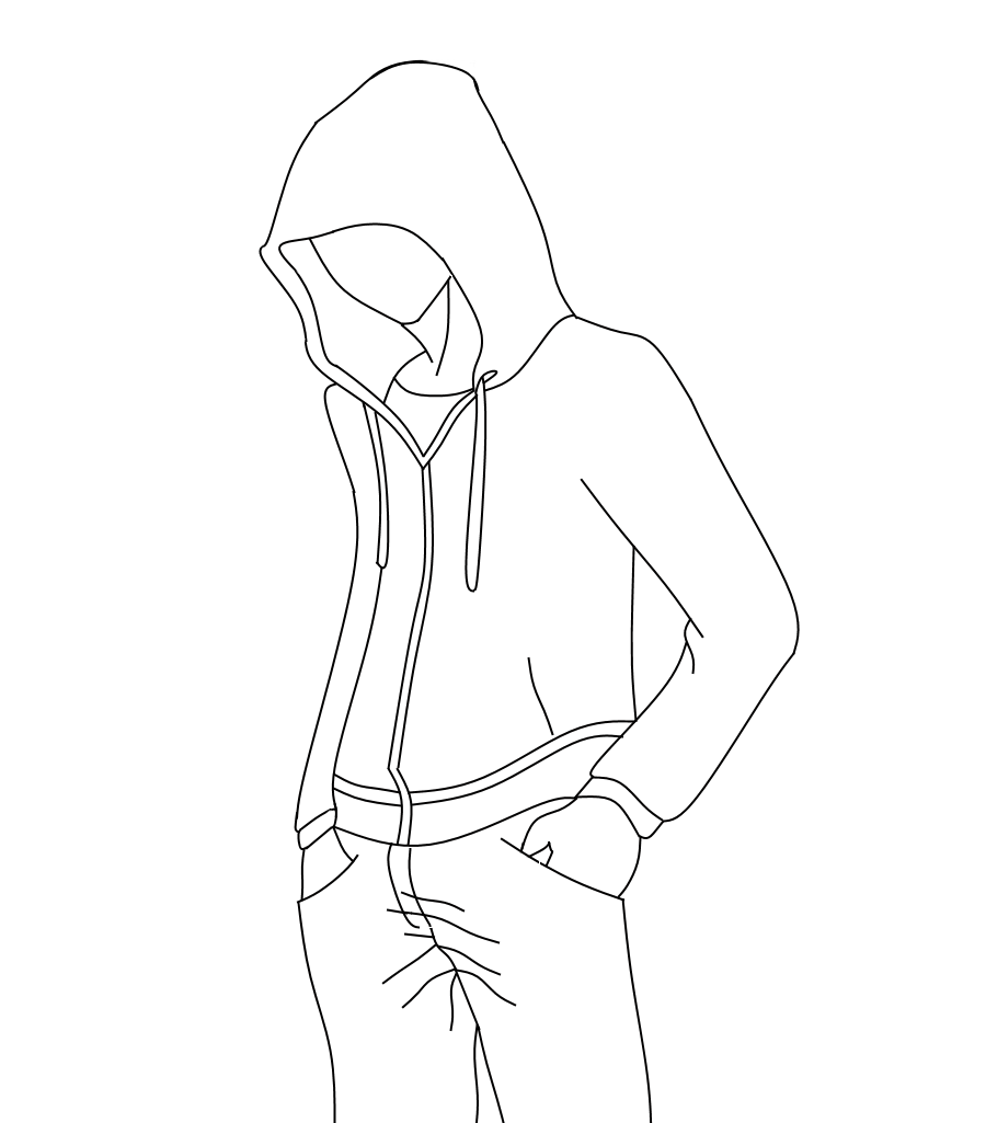 Crouching drawing action. Outline for hoodie designs