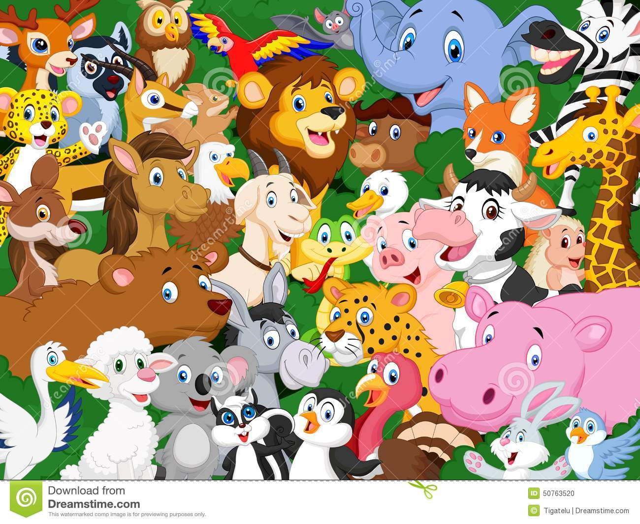 Cartoon background stock vector. Crowd clipart animal svg freeuse stock