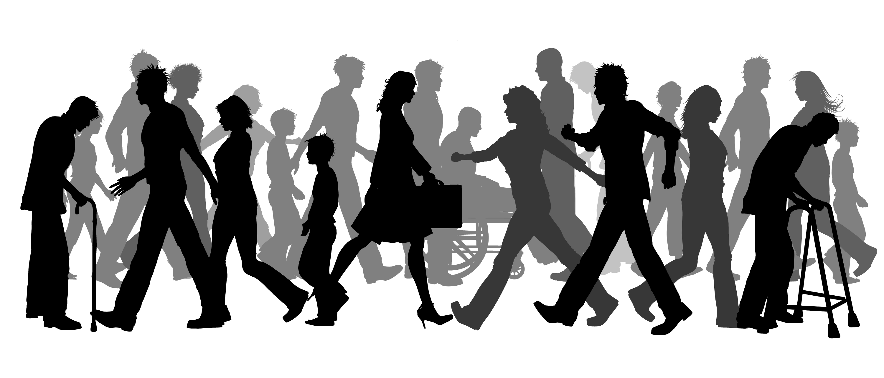 Walk vector crowd. Walking clip art group