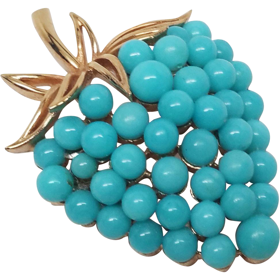 Crown clip bead. Trifari robin egg blue