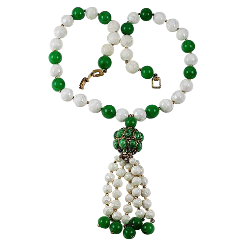 Crown clip bead. Designer signed trifari green