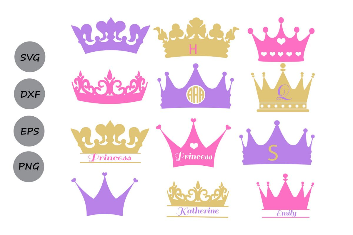 Crown clipart princess crown. Svg monogram design bundles