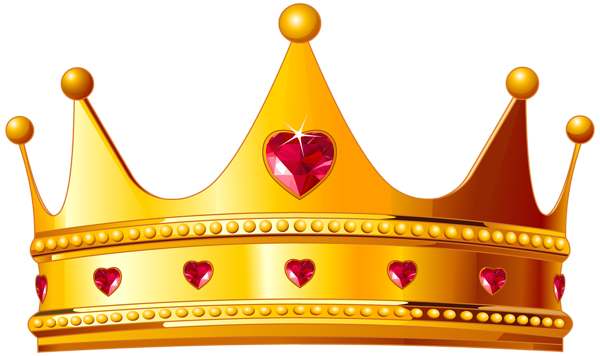 Crown png emoji. Golden with hearts clipart