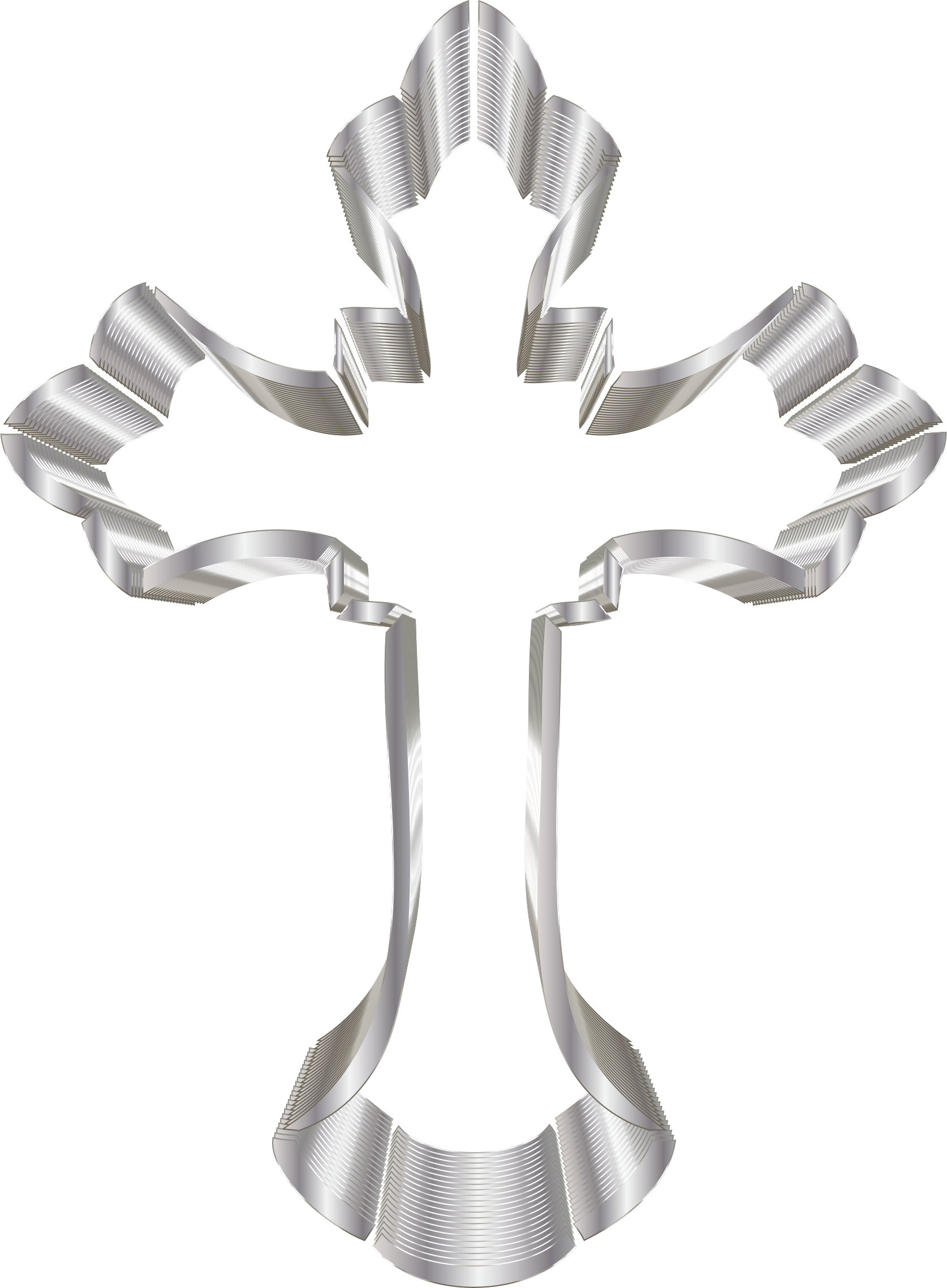 Ornate cross png. Clipart silver no background