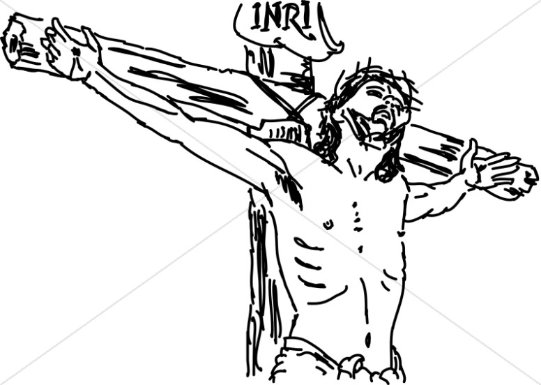 Crucifix clipart crucified jesus. Line drawn christ on