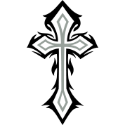 Crucifix vector gothic cross. With thorns style by