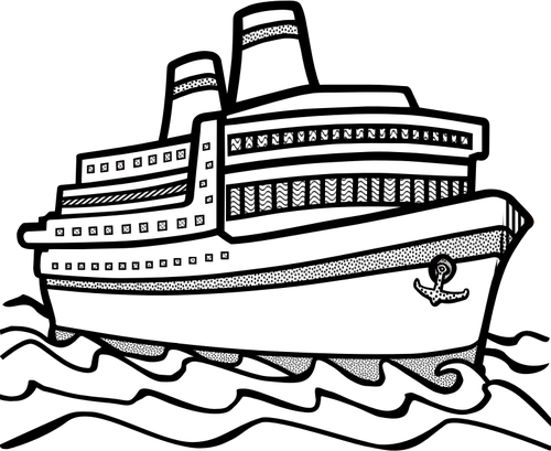Cruise drawing barko. Collection of free cruising
