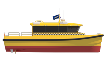 Vector transportation water taxi. Damen builds perfectly tailored