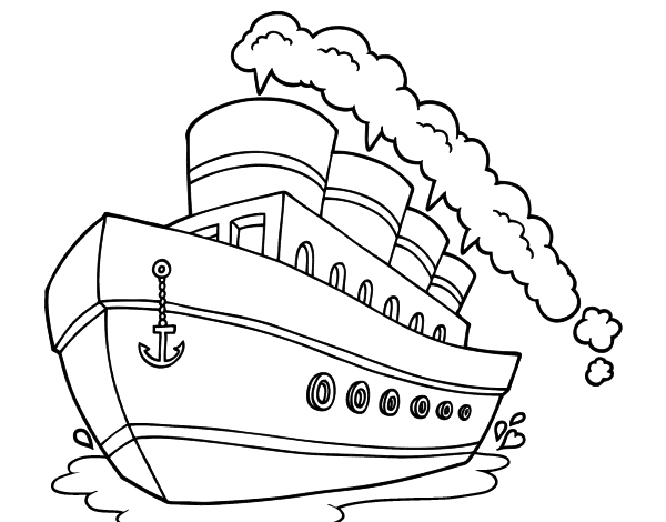 Cruise drawing coloring page. Ship paquebot transportation printable