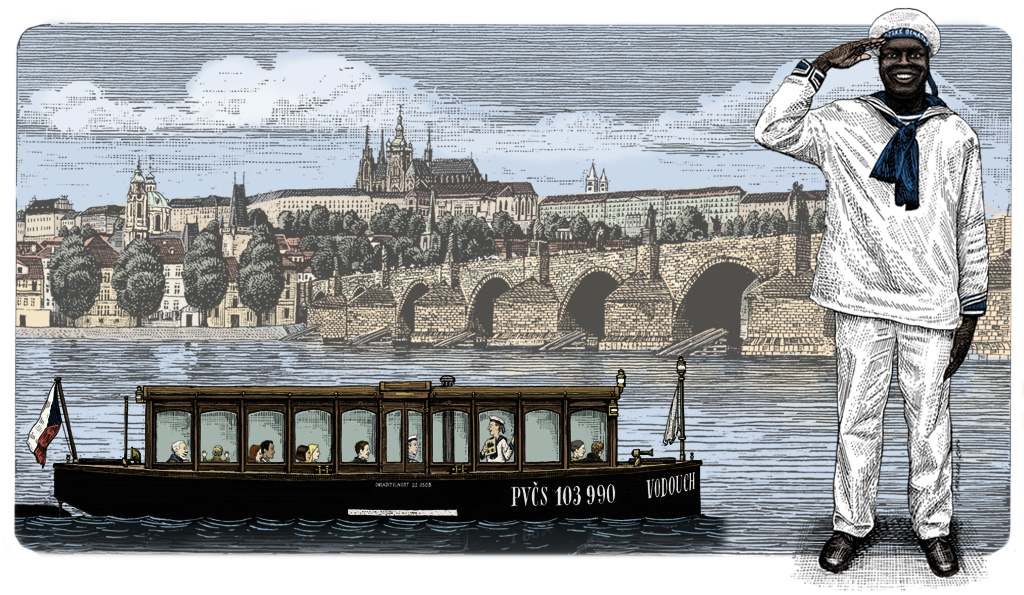 Drawing river kid. Prague venice historical cruise