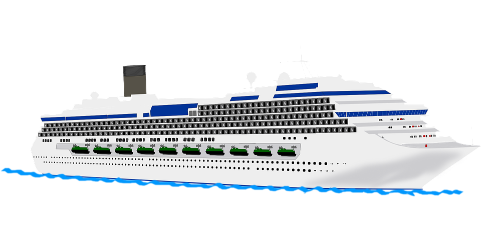 Cruise drawing passenger ship. Collection of free cruising