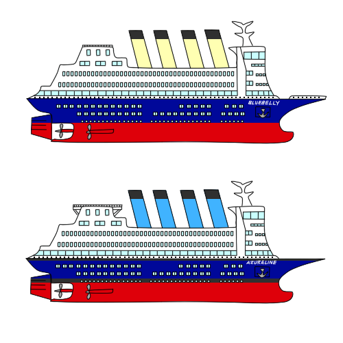 Cruise drawing passenger vessel. Ocs bluebelly and rps