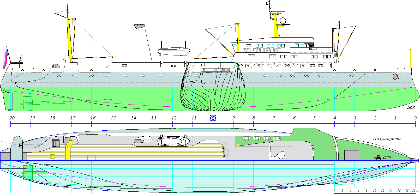 Cruise drawing ship construction. Shipdesign for aphydro issw