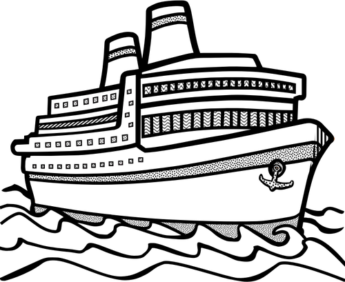 Cruise ship black and white png. Line art vector drawing