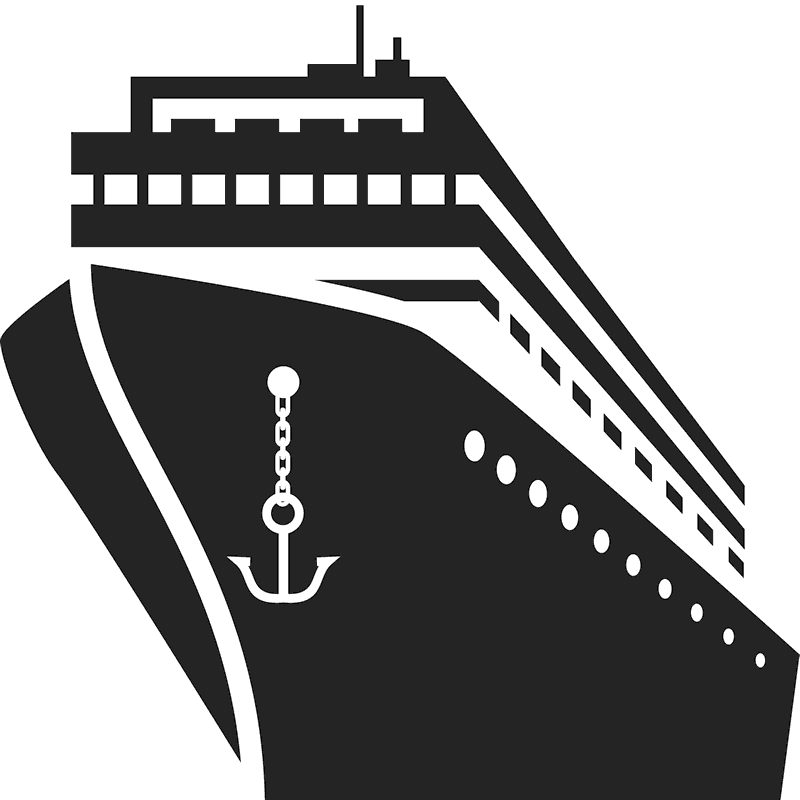 cruise ship black and white png