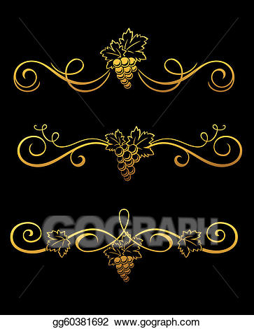 Crumpled grape. Eps illustration golden borders