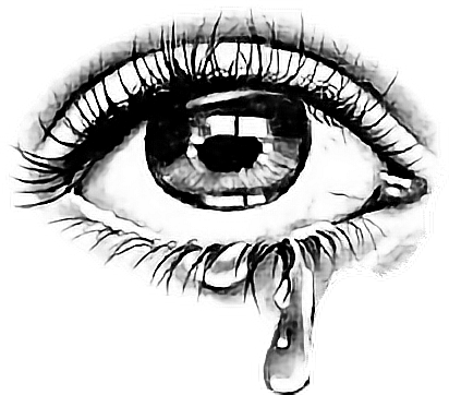 Crying eye png. With tear drawing at