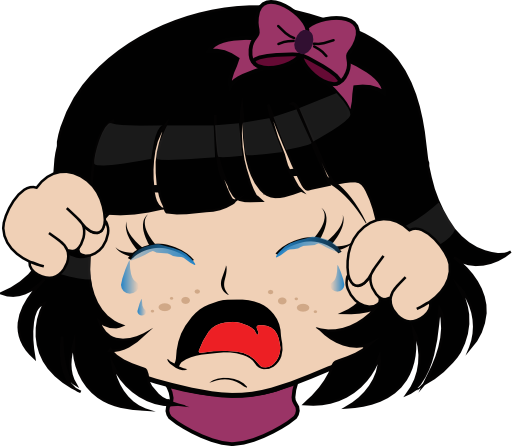 Crying girl png. Manga smiley emoticon clipart