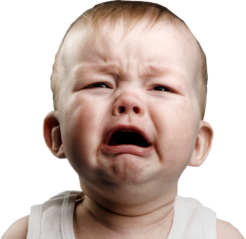 Kid raging png. Crying baby white background