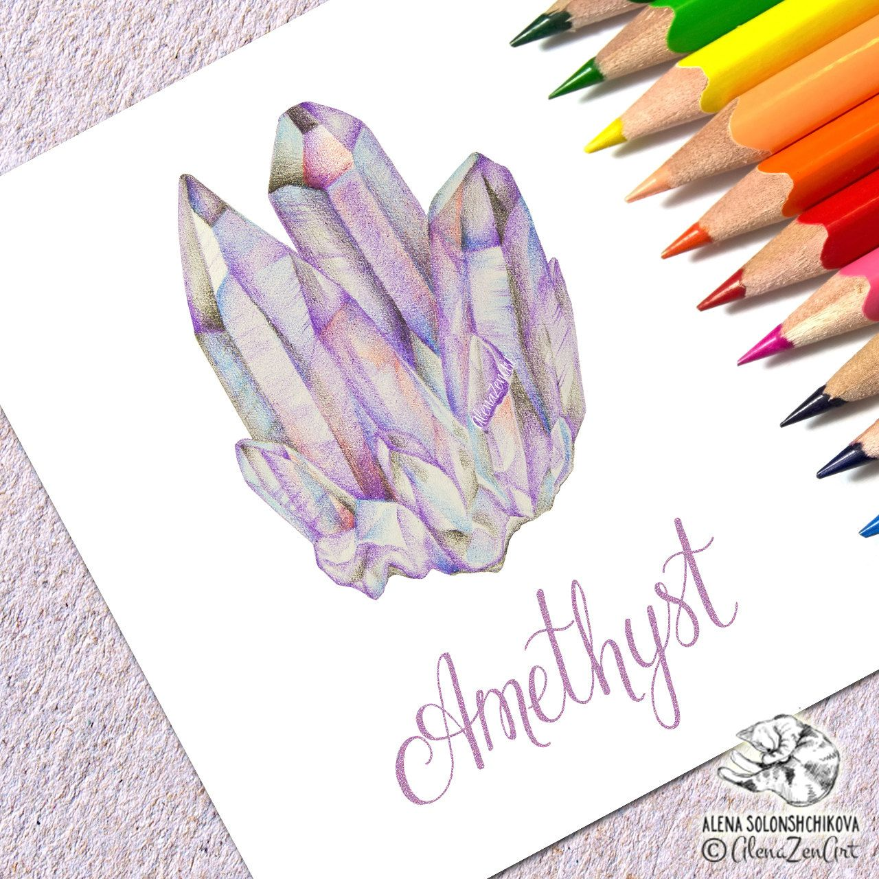 Crystal clipart amethyst crystal. Print art crown chakra