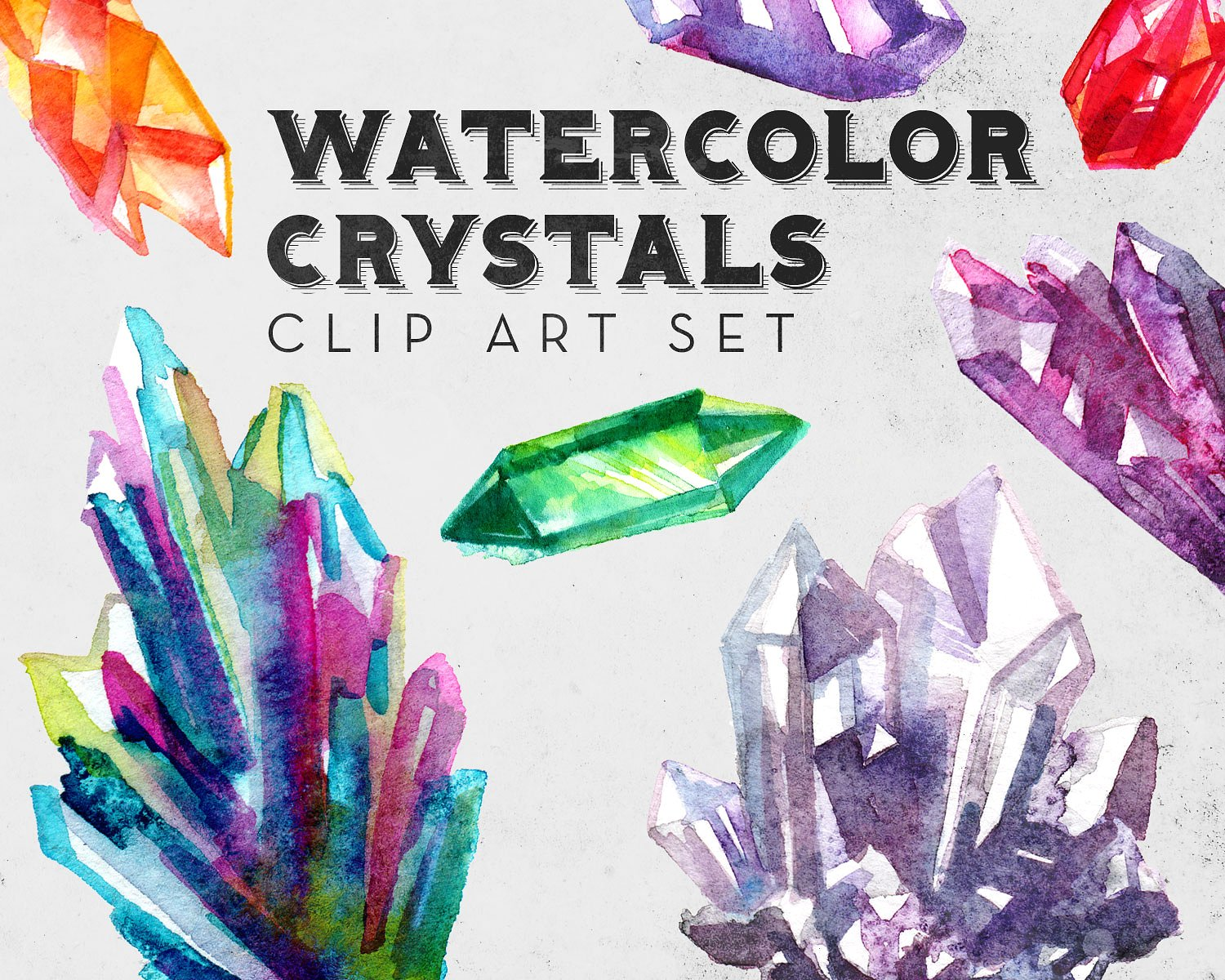 Crystal clipart amethyst crystal. Watercolor crystals set illustrations