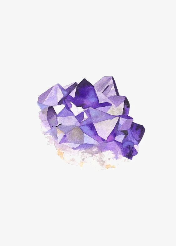 Crystal clipart amethyst crystal. Purple hand painted gem