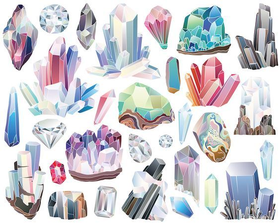 Crystal clipart rock mineral. Crystals diamonds and minerals