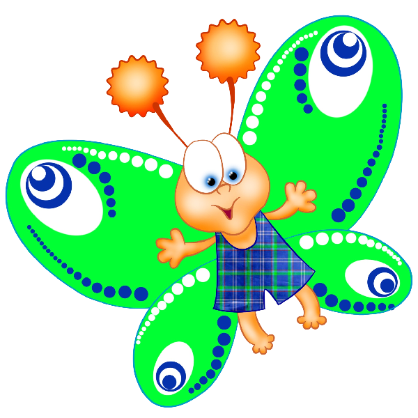 Dragonfly transparent cute cartoon. Funny butterfly images clip