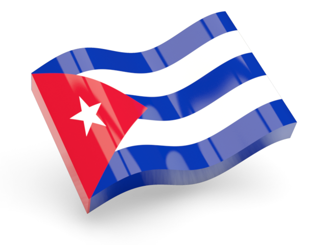 Cuba flag png. Glossy wave icon illustration