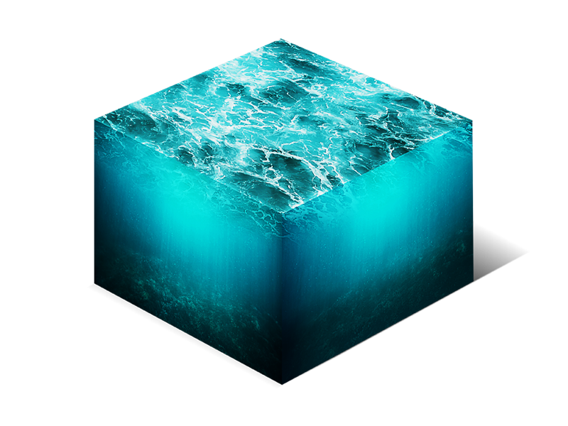 Cube 3d png. Isometric water d cross