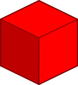 Cube clip. Big red art at